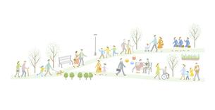 毎日の暮らしの中で歩く人々のイラスト素材 [FYI04905719]