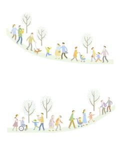 毎日の暮らしの中で歩く育児や介護をしている家族たちのイラスト素材 [FYI04905720]