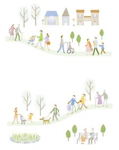 毎日の暮らしの中で歩く育児や介護をしている家族たちのイラスト素材 [FYI04905721]