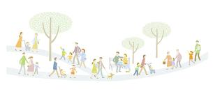毎日の暮らしの中で歩く育児や介護をしている家族たちのイラスト素材 [FYI04905722]