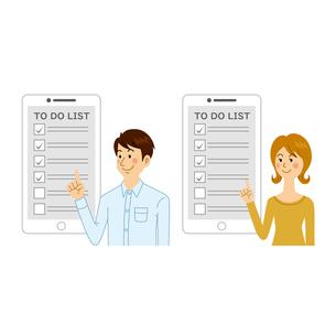 やることリストをチェックする男女のイラスト素材 [FYI04905727]