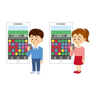 ゲームアプリで遊ぶ子供のイラスト素材 [FYI04905728]