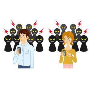 SNSでいじめに合う男女のイラスト素材 [FYI04905756]