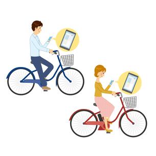 自転車に乗りながらスマホを見る男女のイラスト素材 [FYI04905760]