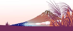ススキと浮世絵の富士山の秋の背景イラストのイラスト素材 [FYI04906701]