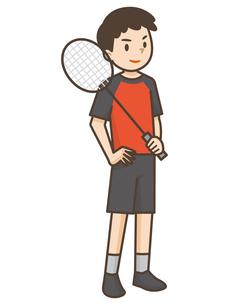 バドミントンをする男の子のイラスト素材 [FYI04906793]