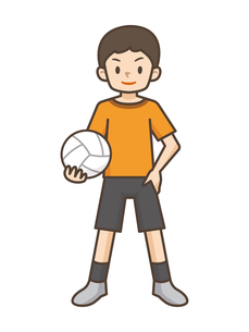 バレーボールをする男の子のイラスト素材 [FYI04906796]