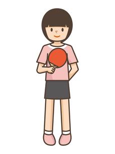 卓球をする女の子のイラスト素材 [FYI04906799]