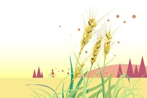 秋の麦畑のサイクリング風景イラストのイラスト素材 [FYI04907050]