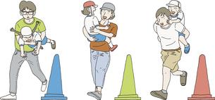 運動会で親子競技するのイラスト素材 [FYI04907082]