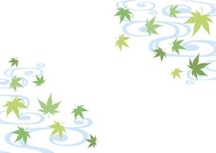 青紅葉と流水紋 和柄背景のイラスト素材 [FYI04907103]