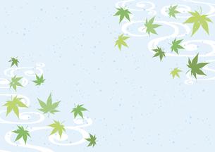 青紅葉と流水紋 和柄背景のイラスト素材 [FYI04907106]