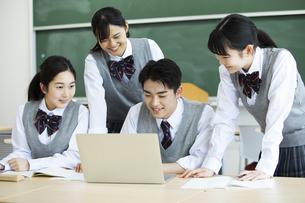 グループ学習をする高校生たちの写真素材 [FYI04907767]
