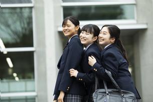 友達と笑顔の女子高生たちの写真素材 [FYI04907788]