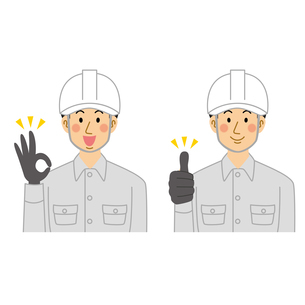 okポーズとgoodポーズの工事現場の男性のイラスト素材 [FYI04908200]