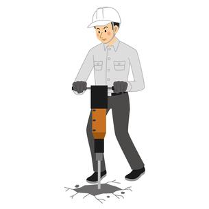 空気圧ハンマーで地面を掘る工事現場の男性のイラスト素材 [FYI04908215]