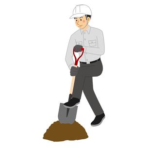 スコップで土を掘る工事現場の男性のイラスト素材 [FYI04908217]