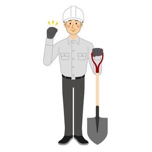 スコップを持つ工事現場の男性のイラスト素材 [FYI04908218]
