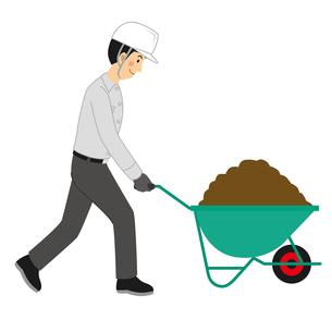 手押し一輪車で土を運ぶ工事現場の男性のイラスト素材 [FYI04908219]