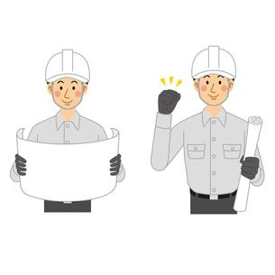 設計図を見る工事現場の男性のイラスト素材 [FYI04908220]