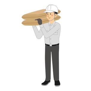 砂袋を運ぶ工事現場の男性のイラスト素材 [FYI04908222]