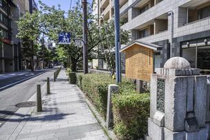 駒札を見る加賀藩邸跡風景の写真素材 [FYI04908318]