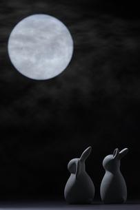 夜空の満月と月の光に照らされたうさぎの人形の写真素材 [FYI04908347]