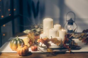 光がさしたテーブル上のキャンドルとカボチャの写真素材 [FYI04908592]