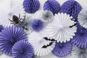 ブルーと白と黒のハロウィン壁飾りの写真素材 [FYI04908661]