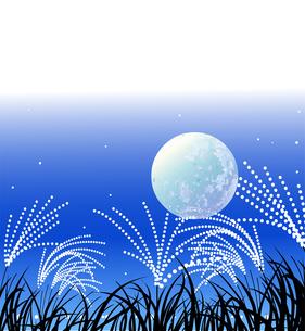 秋の十五夜とススキの野原の風景のイラスト素材 [FYI04909161]