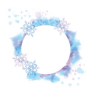 水彩画風タッチの雪の結晶フレームのイラスト素材 [FYI04909399]