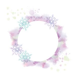 水彩画風タッチの雪の結晶フレームのイラスト素材 [FYI04909468]