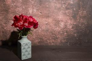 水色の花瓶に活けたイロマツヨイグサの写真素材 [FYI04909898]