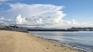 【夏】入道雲が浮かぶ青い海と空の風景 香川県の写真素材 [FYI04909929]