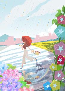 雨の中を傘をさして走る女の子と猫、朝顔、あじさいのイラストのイラスト素材 [FYI04909943]