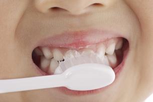 歯磨きをするの女の子の写真素材 [FYI04910029]