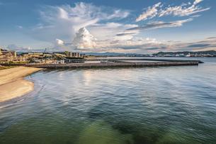【夏】入道雲が浮かぶ海とビーチの風景 ドローン 空撮の写真素材 [FYI04910291]