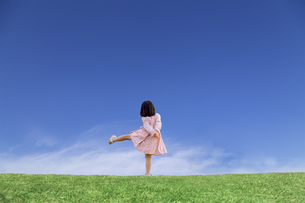 青空を背景にした草地の地平線で喜びを表現するポーズをする少女の後ろ姿の写真素材 [FYI04910379]