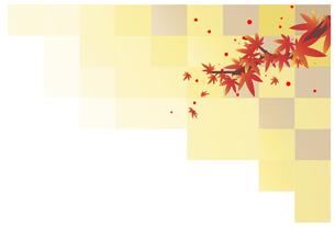 和風の背景のある紅葉の枝葉のイラスト素材 [FYI04910380]
