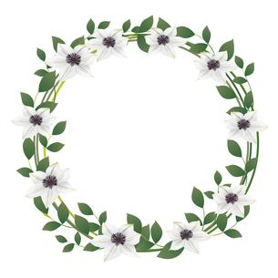 クレマチスの花のイラストフレームのイラスト素材 [FYI04910491]