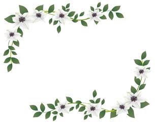 クレマチスの花のイラストフレームのイラスト素材 [FYI04910492]