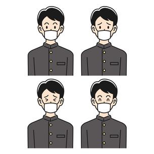 マスクをした男子高校生の色々な表情のイラスト素材 [FYI04910495]