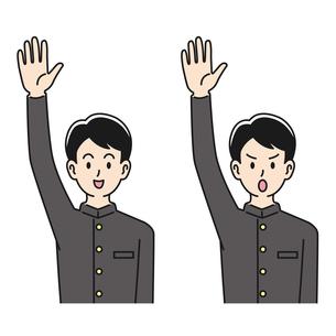 手を挙げる男子高校生の表情のパターンのイラスト素材 [FYI04910499]