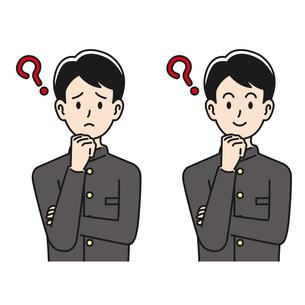 悩んだり考えたりする男子高校生のイラスト素材 [FYI04910507]