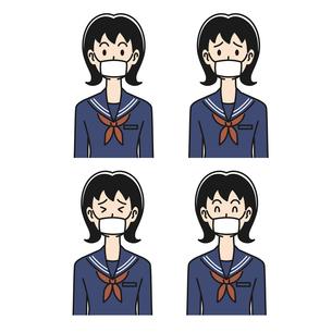 マスクをした女子高生の色々な表情のイラスト素材 [FYI04910512]