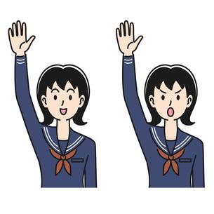 手を挙げる女子高生の表情のパターンのイラスト素材 [FYI04910516]