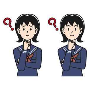 悩んだり考えたりする女子高生のイラスト素材 [FYI04910524]