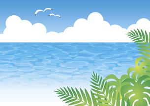 海と青空とヤシの葉の背景のイラスト素材 [FYI04910689]