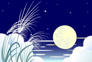 十五夜の癒される月夜の背景イラストのイラスト素材 [FYI04910896]