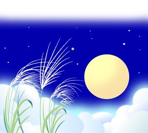 雲海が広がり癒される月夜の背景イラストのイラスト素材 [FYI04910897]